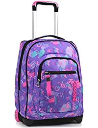 Trolley Seven, Iridescent, Viola, 2 in 1 Zaino con Cross-Over System, Scuola & Viaggio