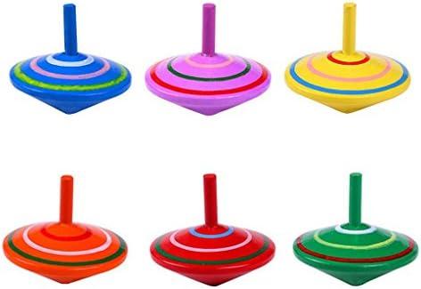 ELENXS  s colorés Stripe en Bois Toupie Kindergarten bébé Gyroscope Intelligence Jouets Fun | Elaborer