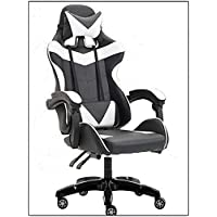 Yalla Office Gaming Chair - PC Computer Chair for Gaming, for Office, for Students -Ergonomic Lumbar Back Support Pain Relief (Black & White)