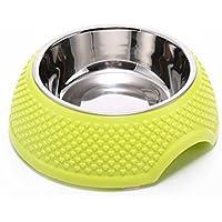 in acciaio inox alimento per animali domestici ciotola attivisti verdi antiscivolo durevole cane e gatto cibo ciotole 2pcs , green