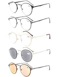 Eyekepper 4-Pack Crystal Clear Vision Komfort Frühlingsarme Runde Lesebrille inklusive Sonnenleser +2.0