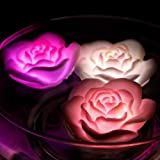 CHRONOS Floating LED Rose - Waterproof - Battery Powered - Multi Color LED - For Diwali, Christmas, Home Decor, Wedding Decoration, Happy Birthday And Gift - Pack Of 12