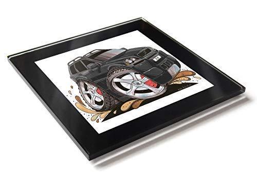 Koolart Cartoon Auto Volvo XC90 Glas Tisch Untersetzer mit Geschenk-Box - Schwarz, 10cm x 10cm -