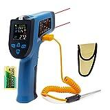 Ketotek KT550D Dual-Laser-Digital-Infrarot-Thermometer-Temperaturpistole Berührungslos -50 ~ 550 ℃ (-58-1022 ℉) mit einstellbarem Emissionsgrad K-Thermoelement für industrielle Anwendungen