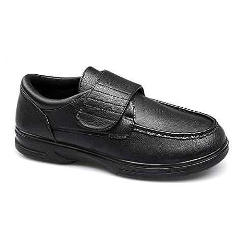Dr Keller TONY Mens Velcro Bar Comfort Wide Fit Shoes Black UK 10