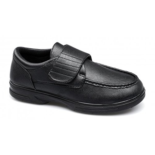 Dr Keller TONY Mens Velcro Bar Comfort Wide Fit Shoes Black UK...