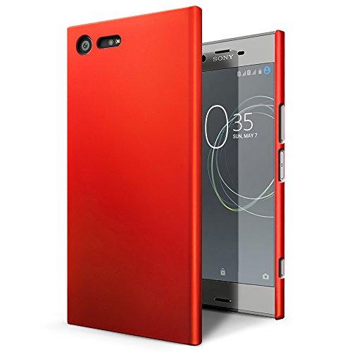 SLEO Sony Xperia XZ Premium Hülle Stilvolle harte PC SchutzHülle [Anti-Fingerabdrücke] [soft-touch] Rückseite Tasche für Sony Xperia XZ Premium - Rot