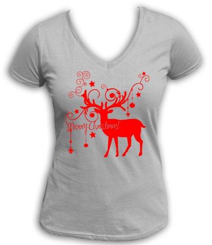 Artdiktat t-shirt pour homme à col v pour décoration de noël en forme de renne wishes a merry christmas Gris - Gris