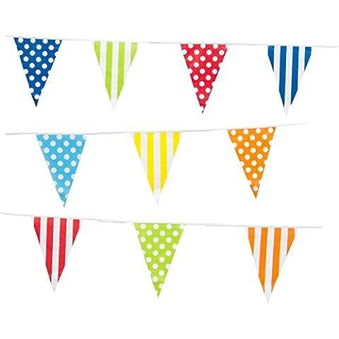 10M Garland Bandera Cumpleaños Decoración para Jardin Guirnalda de Triángulos Multicolor mezcla de rayas polka patrones de puntos bandera del banderín