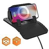 Auckly 2 en 1 Qi chargeur sans fil voiture avec Tapis Antidérapant, Support Télephone Voiture sur Tableau du bureau ou à la maison pour iPhone X / 8/ 8 Plus, Galaxy S8/S8+/ S7/S7 edge/S6 edge+, etc