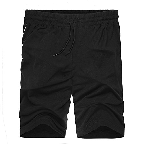 INCERUN Herren Sport Joggen und Training Shorts Fitness Basic Kurze Hose Jogging Hosen Sweatpants Jogger Schwarz XL