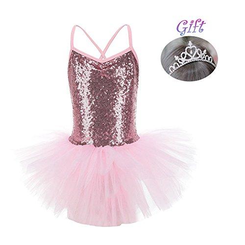 Hougood Mädchen Tanz Kleid Pailletten Prinzessin Kleid Ballett Kostüme Gymnastik Trikots