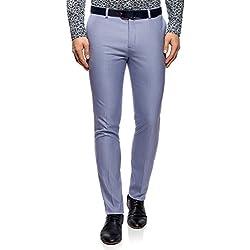 oodji Ultra Hombre Pantalones Slim con Pinzas, Azul, ES 38 (S)