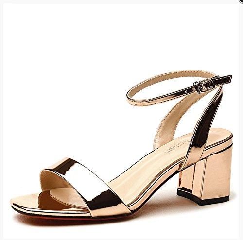 Lgk & Sandales D'été Une Sandales À Boucle De Mot Pour Les Femmes Talon D'été Avec Des Chaussures À Talons Chaussures À La Mode De La Femme, 34 Argent 39 Or