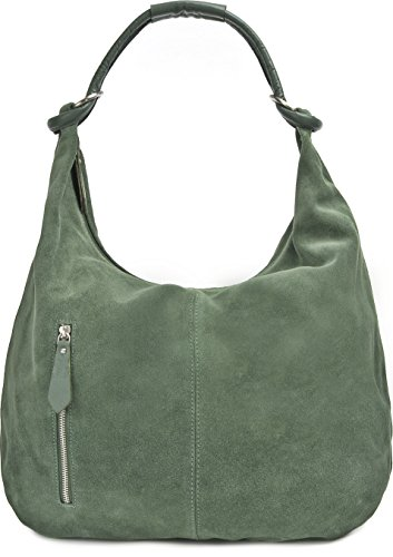 tasche Leder, Hobo-Bag, Leder Handtasche Damen, Beuteltasche Wildleder, Leder-Tasche DIN-A4, 44x36x4cm (B x H x T), Farbe:Dunkelgrün (Petrol) ()