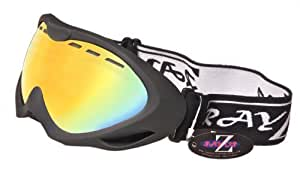Rayzor Professional UV400 Double Lensed Ski / SnowBoard Goggles, With a Matt Black Frame and an Anti Fog Coated, Vented Gold Iridium Mirrored Anti-Glare Wide Vision Clarity Lens.