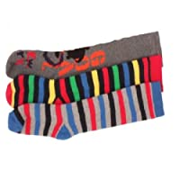 3 x Boys Kids Children Wellington Welly Motif Design Thermal Warm Long Socks Sock Size:UK 9-12