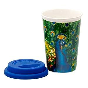Coffee-to-Go-Becher aus Porzellan Kaffeebecher Trinkbecher Reisebecher Becher mit Deckel Kaffee To Go Becher Porzellan mit Deckel travel mug spülmaschinengeeignet (Pfau)