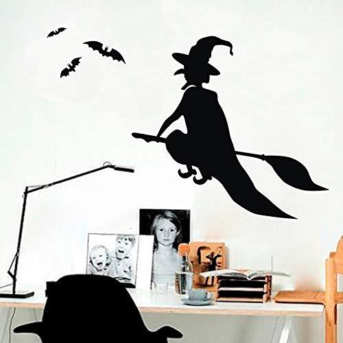 Yyoutop Halloween Wandkunst Dekor Hexe Besen Mädchen Wandaufkleber Für Zimmer Vinyl Wandtattoos Home Dezember 29x31 cm