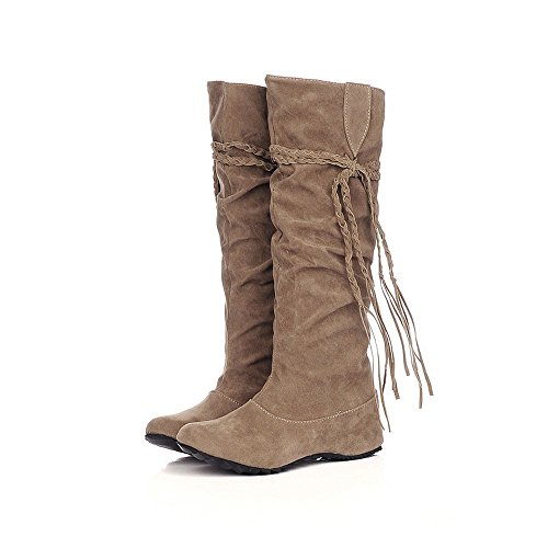 Stiefel Damen Boots Mittlere Stiefel Winterstiefel Frauen Erhöhen Plattform Schuhe Schenkel-hohe Stiefe Motorrad Freizeitschuh ABsoar
