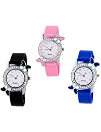 Krupa Enterprise Analogue white Dial Watch For Women and Girls pack of 3