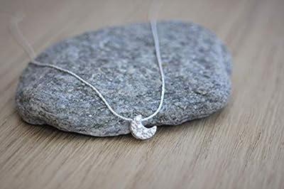 Collier en argent massif pendentif lune serti de zirconium