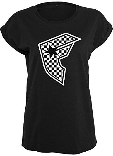 Famous Stars and Straps Damen Ladies Checker Badge Tee T-Shirt, Black, M (Hoodie Blink-182)