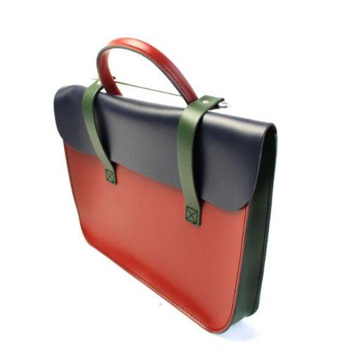 Rot Satchel Tasche (Deluxe Stilvolle Weinlese Echtleder Musik/Laptop Tasche Satchel - Rot, Grün & Marine)