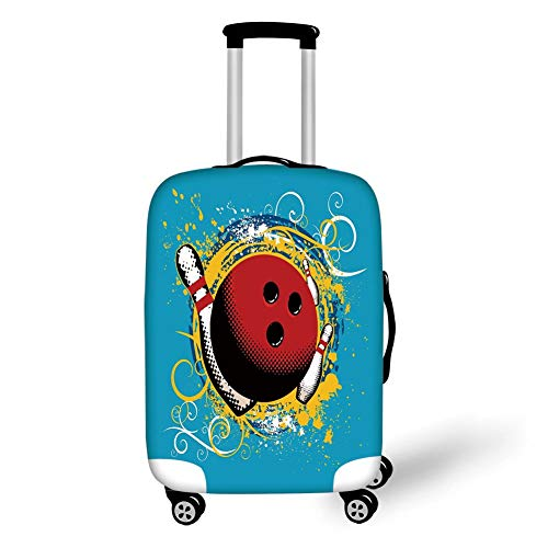 Travel Luggage Cover Suitcase Protector,Bowling Party Decorations,Fun Hobby Retro Ball Floral Swirls Color Splashes Pop Art,Blue Red Yellow,for Travel