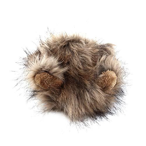 MachinYeseed Lustige süße Haustier Kostüm Cosplay Lion Mähne Perücke Mütze Hut für Katze Halloween Xmas Kleidung Kostüm mit Ohren Herbst Winter braun & ()
