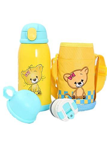 Aoweika Trinkflasche Kinder | Edelstahl Wasserflasche 600ml | BPA frei | auslaufsicher | Kinderflasche mit Strohhalm | Flasche für Schule, Sport, Kindergarten (600ML, I)