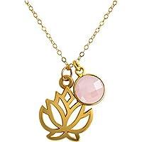 Gemshine Handmade - Halskette - Anhänger - Vergoldet - Yoga - Lotus Blume - Rosenquarz - Rosa - 45 cm