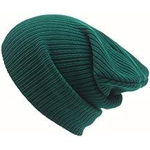 Tongshi Hombres Mujeres Beanie casquillo del Knit del esquí Hip-Hop de invierno de lana unisex sombrero caliente (Verde)