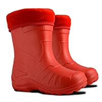 Ultra Light EVA Kids Girls Wellington Boots Rainy Snow Wellies Red Very Warm Liners (11.5 UK / 30 EU - 19.5cm, Red)