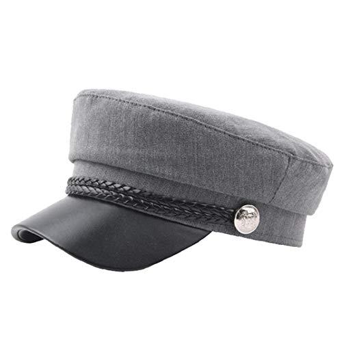 Zonfer Unisex PU-Leder-Militär Hut Cotton Matrosenmütze Flat Top Travel Cadet Hat Kapitän Cap (Armee Cadet Kostüm)