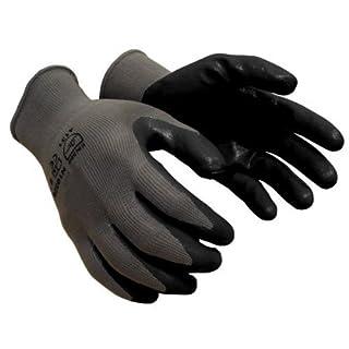 36 pairs, Nitrile Coated Work Gloves - Gray 13 Gauge Nylon, Black Nitrile Foam Palm (Large) by AZUSA SAFETY