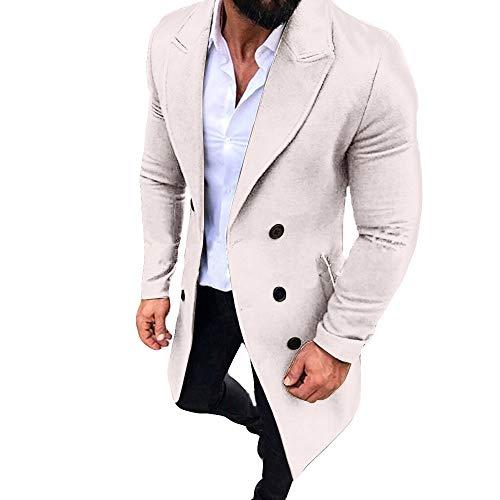 KPILP Männer Anzugjacken New Trench Long Strickjacke Outwear Button Smart Mantel Windjacke Herbst und Winter Sakkos(Weiß,EU-58/CN-XL)