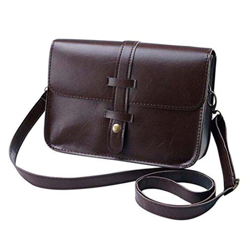 Retro Borsa a tracolla Hiroo Donne Signora Moda Borsetta Leather Crossbody Cartella Purse Bag Sacchetto di spalla in pelle Handbag Shoulder Bag Hobo Messenger Bag Tote (Beige) Caffè