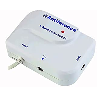 Antiference 1 Way TV Signal Amplifier Booster Tuned to Cut Out 4G - White