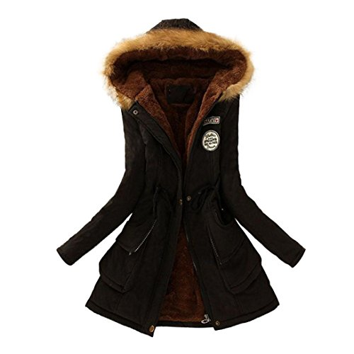 Sannysis Damen Mantel Lang Winterjacke Fell Wintermantel Parka Warmer mit Kapuze Jacke (XL, Schwarz)