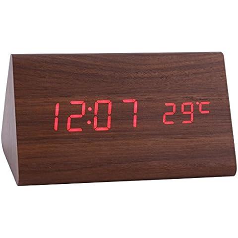 Konigswerk nuevo control Triangular de sonido USB/AAA funciona con pilas LED de madera Alarma Digital Escritorio reloj despertador con termómetro calendario automático del brillo