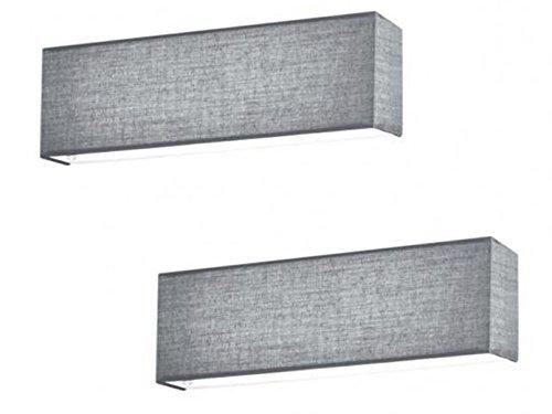 2er Set LED Wandleuchten LUGANO Stoff grau mit Schalter, Länge 25 cm, Up- / Downlight, Trio Leuchten -