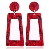 Haptian Gesprenkelte Acryl-Ohrhänger-Ohrringe für Frauen-Harz-Modeschmuck(rot)