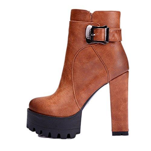 COOLCEPT Damen Blockabsatz Knoechel Plateau Schuhe für die Datierung Martin Stiefel Braun