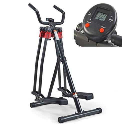 Kompakter Pedal Trainer Schwarz mit LCD-Monitor - Faltbarer Air Walker Fitnessübung Elliptischer Steppersegelflugzeug - Ideal für Männer, Frauen, Kinder und ältere Menschen Erweiterte Heimfitnessgerät