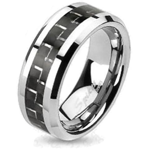 Paula & Fritz® Anillo Titanio silberschwarz Carbon Inlay disponibles Ring tamaños 47(15)–69(22) R de ti de 4368-xxx