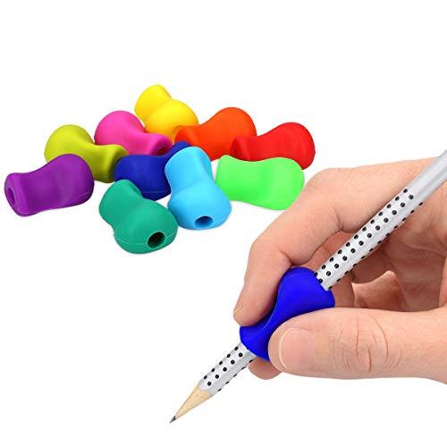 kwmobile 10x Silikon Stiftehalter - Schreibhilfe für Stift Bleistift Griff - Linkshänder Rechtshänder Buntstift Halter in Mehrfarbig