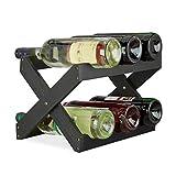 Relaxdays botellero Vino 6 Botellas Plegable en Forma de x, bambú, Negro, 22 x 36 x 20 cm, Bamboo