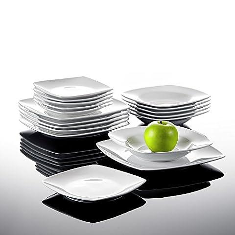 Malacasa, Série JULIA, Lot de 18 Assiettes Creuse Assiette à Dessert Soupe Assiette Plate Service Vaisselles de Table Porcelaine Céramique 6pcs*9.5