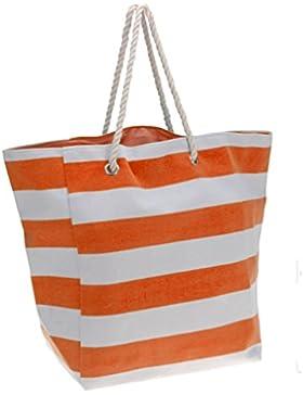Strandtasche mit Kordel Große Beach Tasche Strand Shopper Bag Badetasche XXL Familie Schultertasche Orange Gestreift